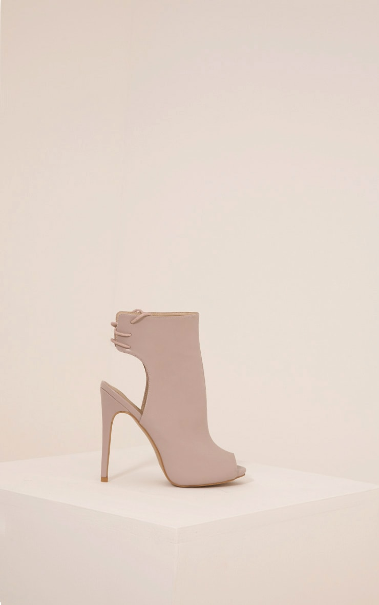 Joni Taupe Faux Leather Cut Out Peep Toe Ankle Boots 3