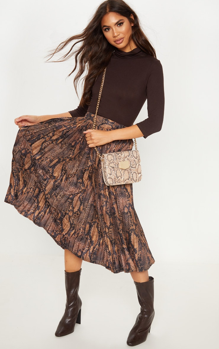 Snake Printed Pleat Midi Skirt
