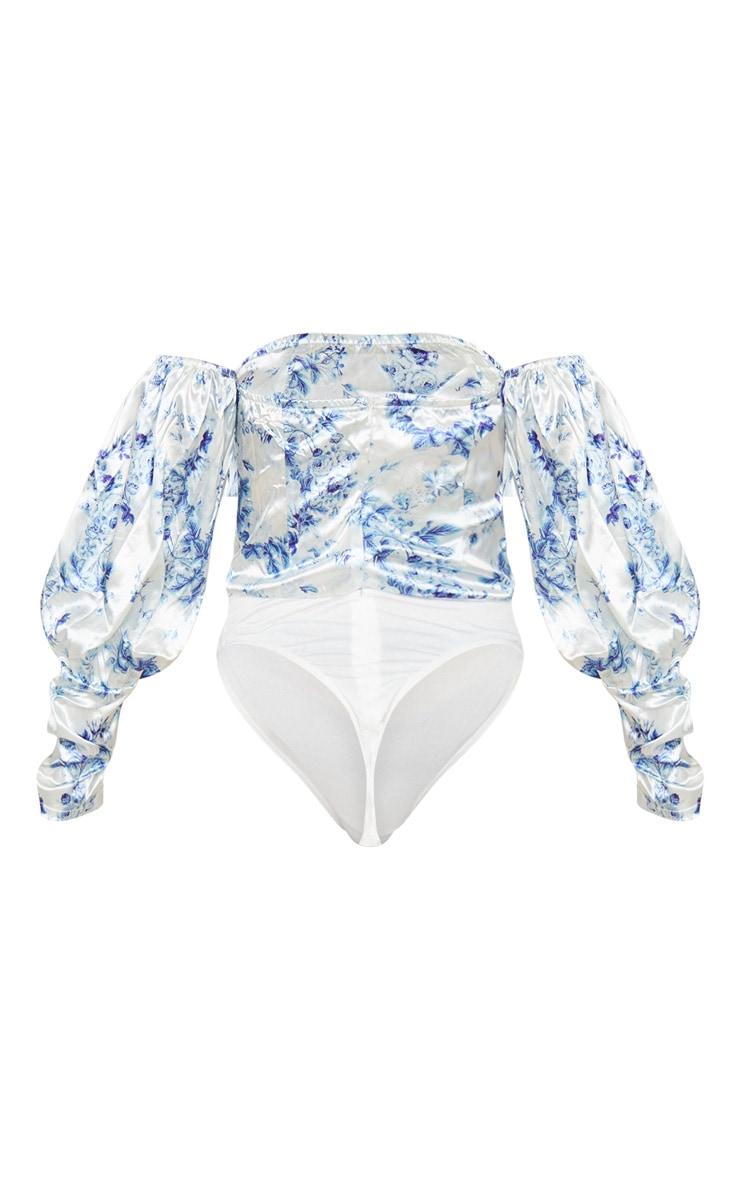 Blue Ditsy Floral Satin Oversized Puff Sleeve Bardot Bodysuit 4
