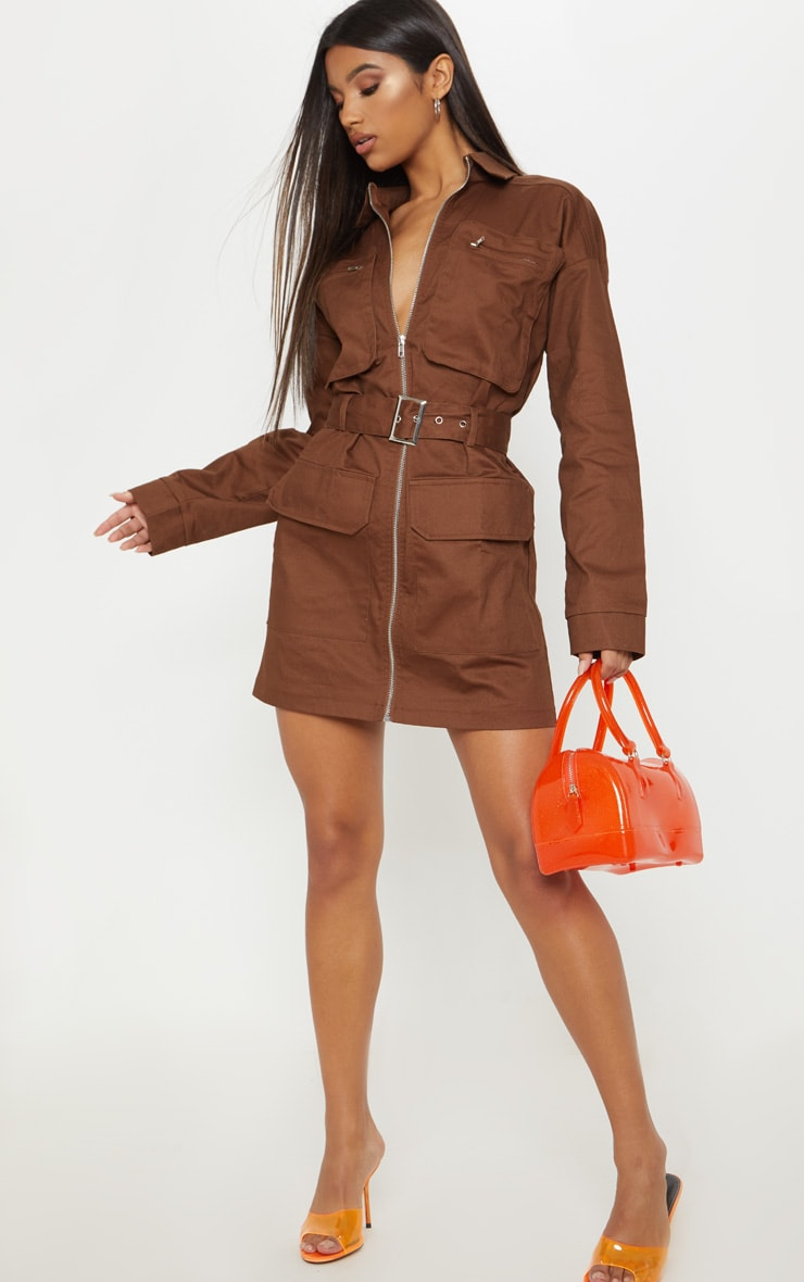 Chocolate Belted Pocket Front Utility Shift Dress 5