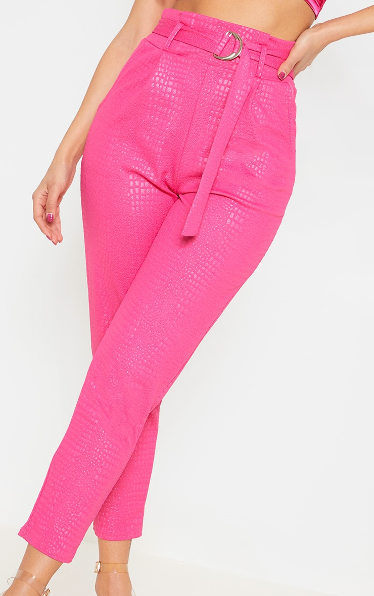 Fuchsia Croc Print D Ring Belted Skinny Trousers 5