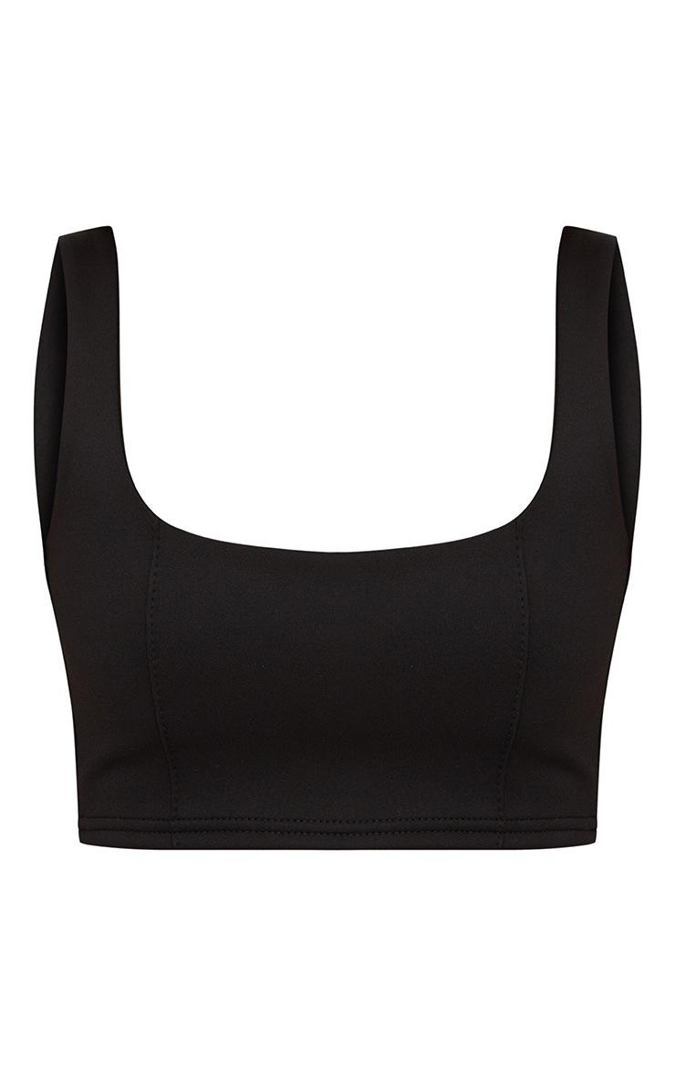 Petite - Crop top noir à encolure carrée et zip dans le dos 3