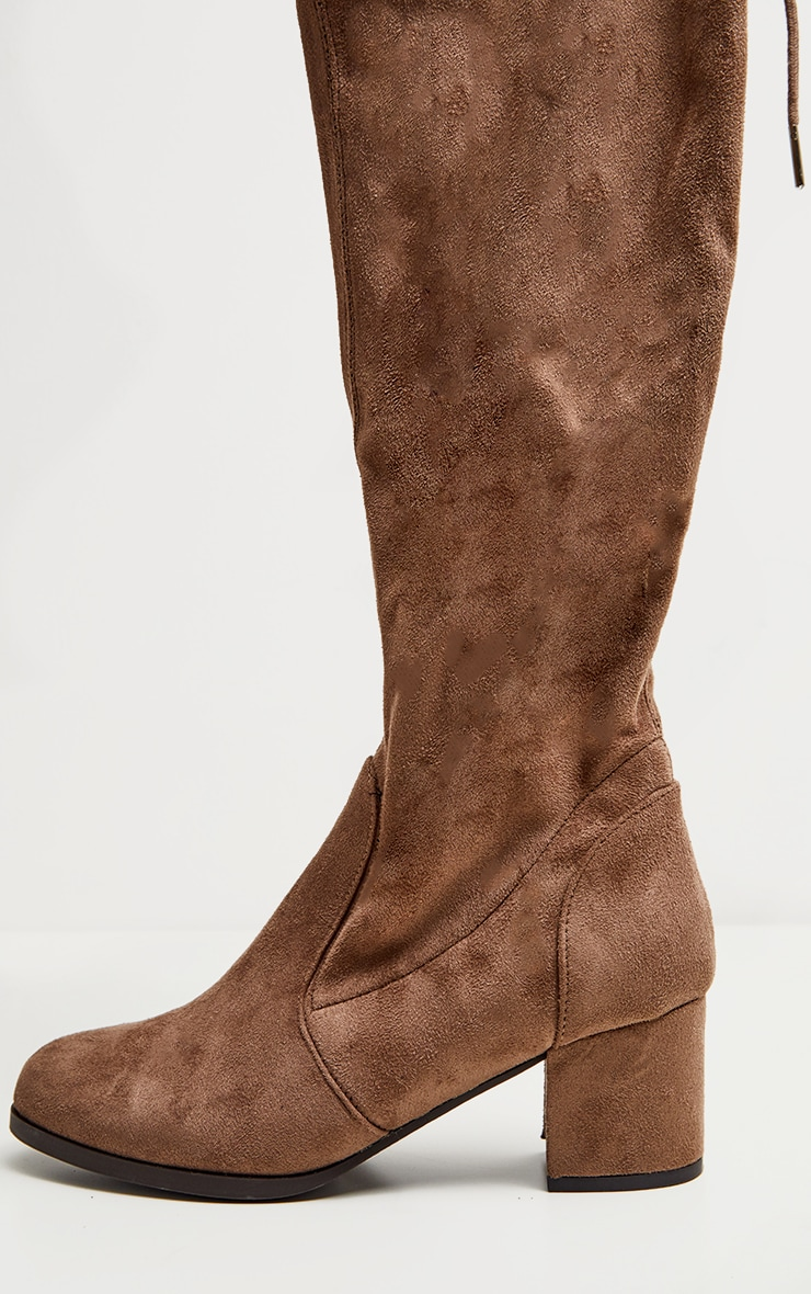 Taupe Faux Suede Block Heel Thigh Boot 3