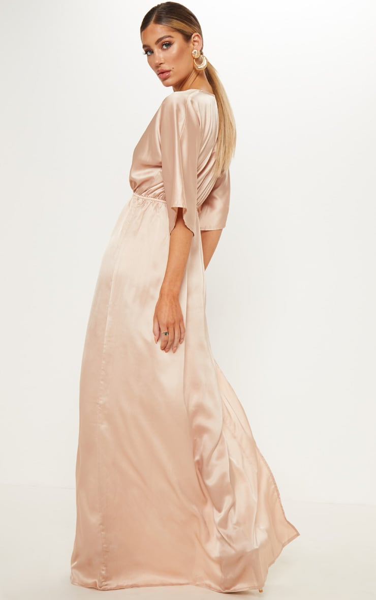 Champagne Satin Split Leg Maxi Dress 2