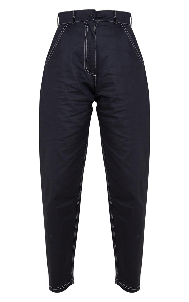 Black Contrast Stitch Cargo Trouser 3