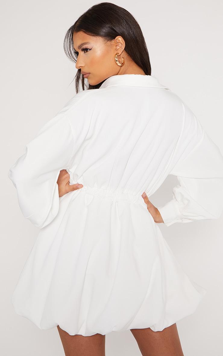 White Puffball Hem Shirt Dress 2
