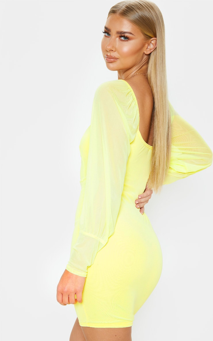 Yellow Mesh Long Sleeve Bodycon Dress 2