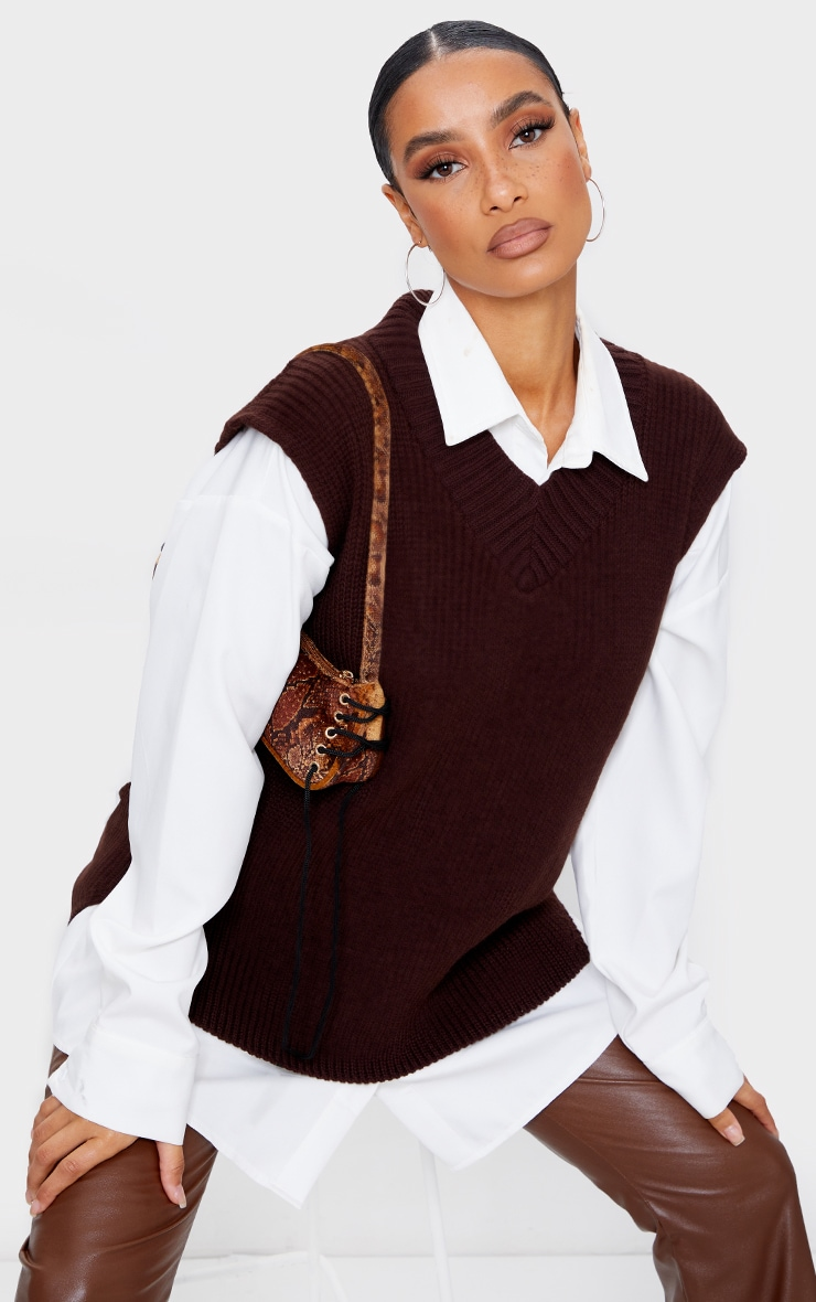 Chocolate V Neck Knitted Side Split Vest 1