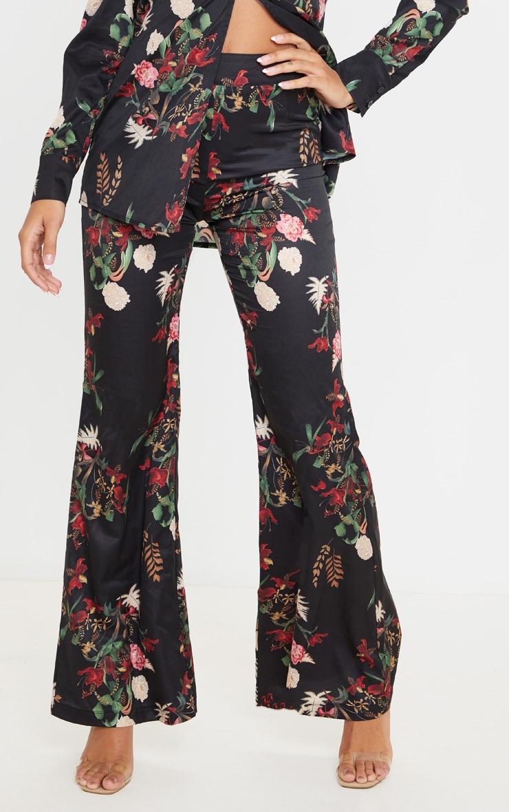 Black Floral Oriental Wide Leg Pants 2