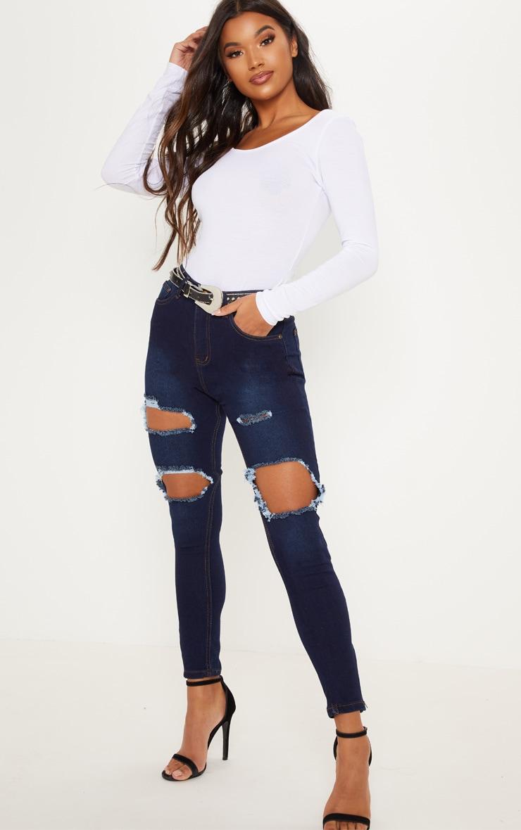 Dark Wash Extreme Rip 5 Pocket Skinny Jean
