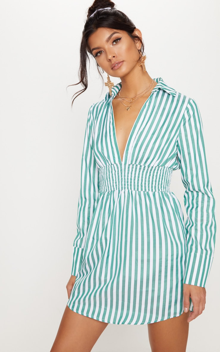 Green Stripe Print Shirring Detail Shirt Dress 1