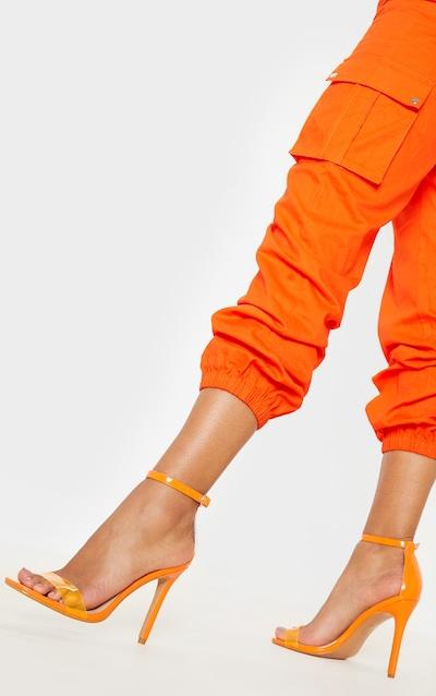 Orange Square Toe Clear Strap Sandal
