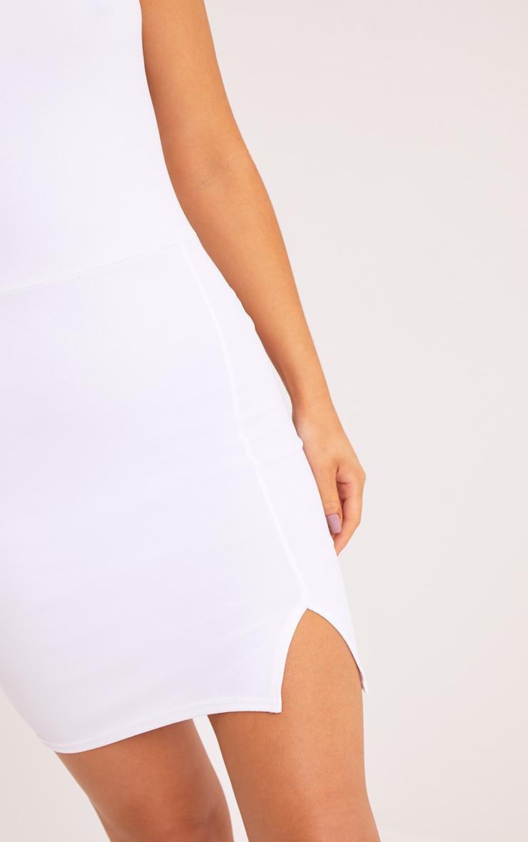 Layala White Split Detail Bandeau Bodycon Dress 5