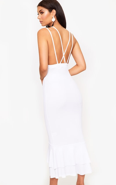 White Strappy Fishtail Midi Dress