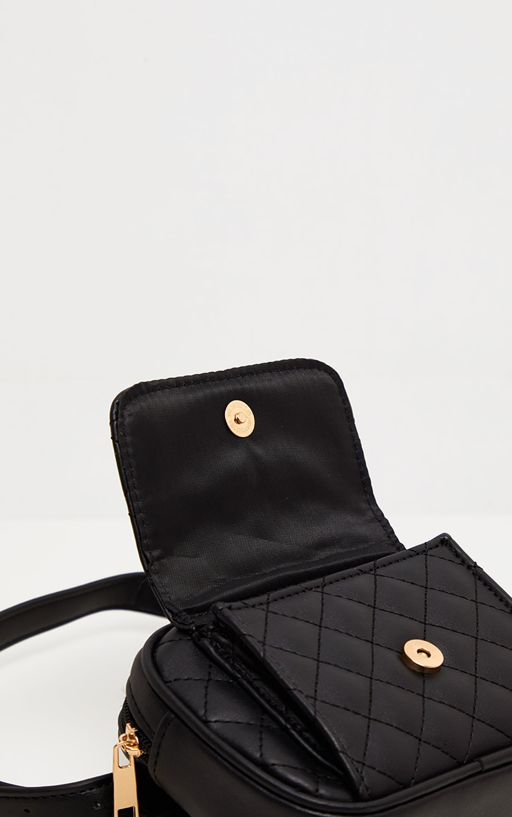Black Quilted Pocket Front Bum Bag 5