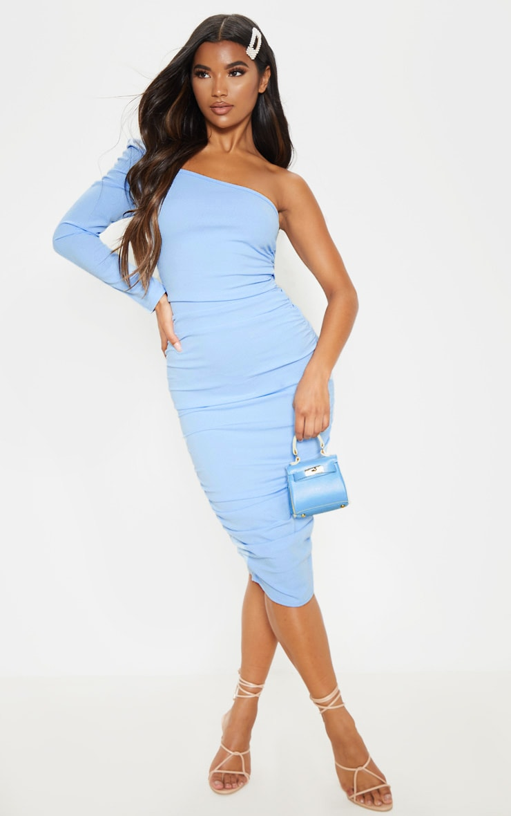 Dusty Blue One Shoulder Ruched Detail Midi Dress 1