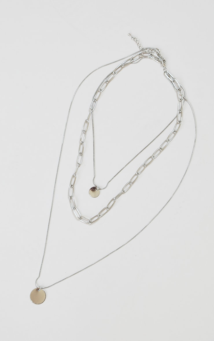 Silver Coin Layering Necklace 1