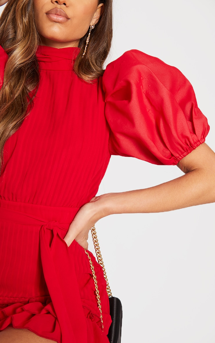 Red Pleated Chiffon Puff Sleeve Frill Bodycon Dress 4