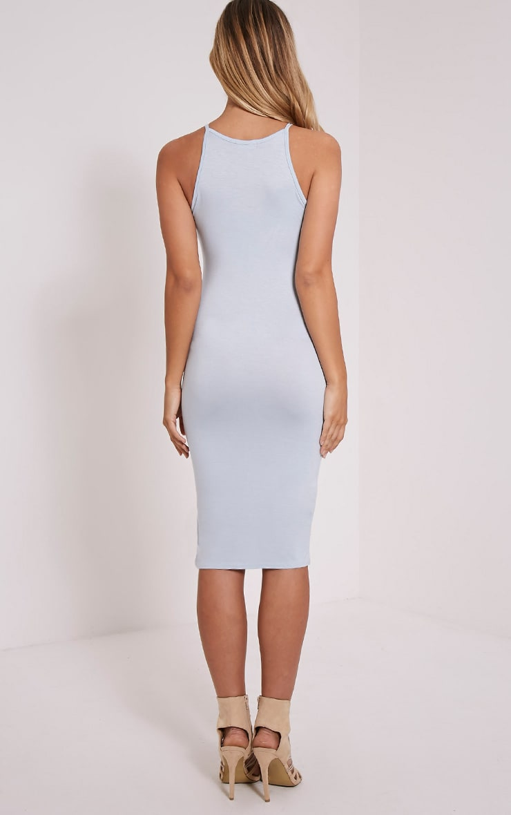 Basic Powder Blue Thin Strap Racer Neck Jersey Midi Dress 2