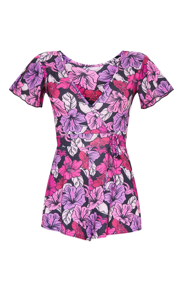 Pink Floral Print Short Sleeve Playsuit 3