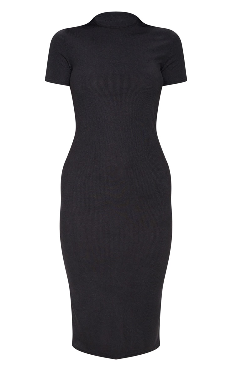 Black Ribbed Crew Neck Midi Dress 3