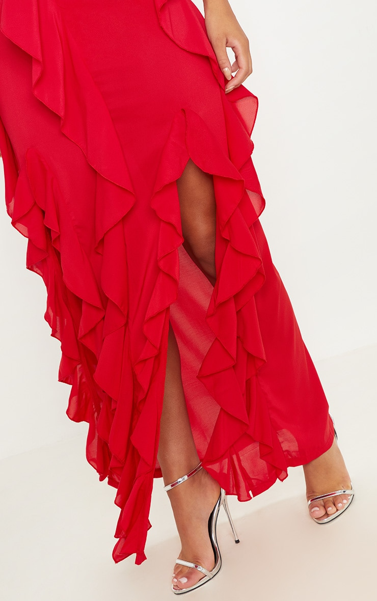 Red Cold Shoulder Ruffle Detail Maxi Dress 6
