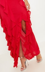 Red Cold Shoulder Ruffle Detail Maxi Dress 5