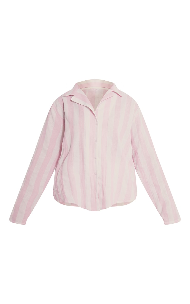 Pink Mix And Match Wide Stripe Cotton Long Sleeve PJ Shirt 5