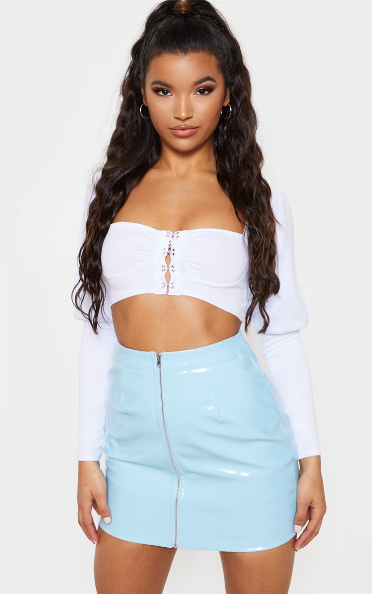 Baby Blue Vinyl Mini Skirt 1