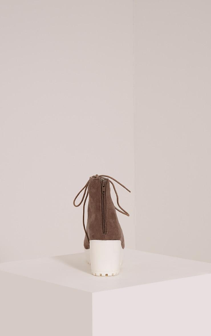 Caprice Mocha Faux Suede Lace Up Sandals 4