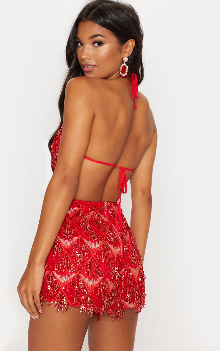 Red Tassel Sequin Playsuit 2