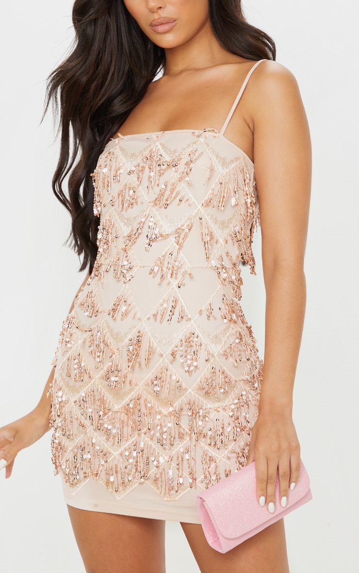 Nude Sequin Strappy Square Neck Bodycon Dress 5