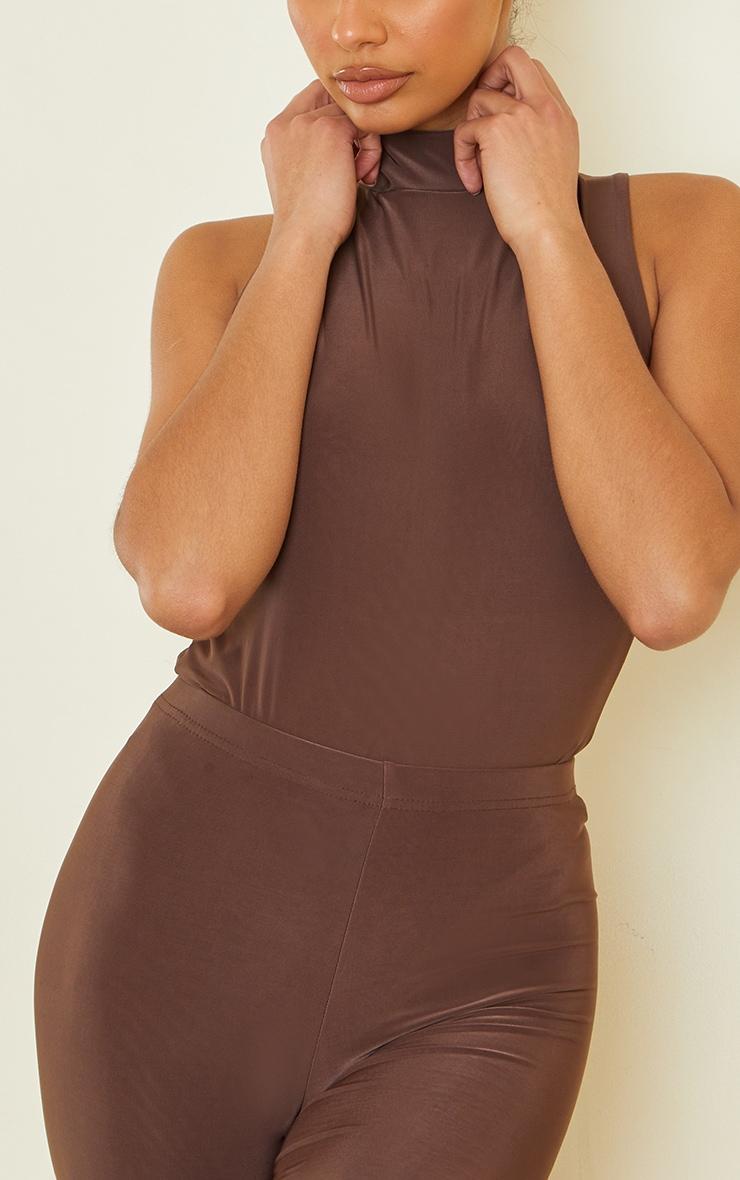 Dark Brown Slinky High Neck Sleeveless Bodysuit 4
