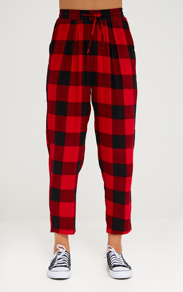 Red Check Casual Trousers 2