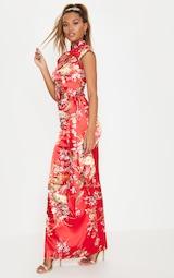 Red Oriental Print High Neck Extreme Split Maxi Dress 1