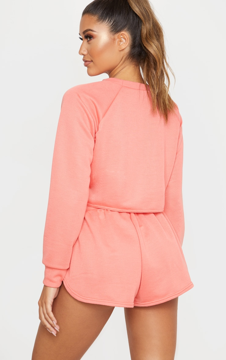 Coral Tie Front Cropped Sweat 2