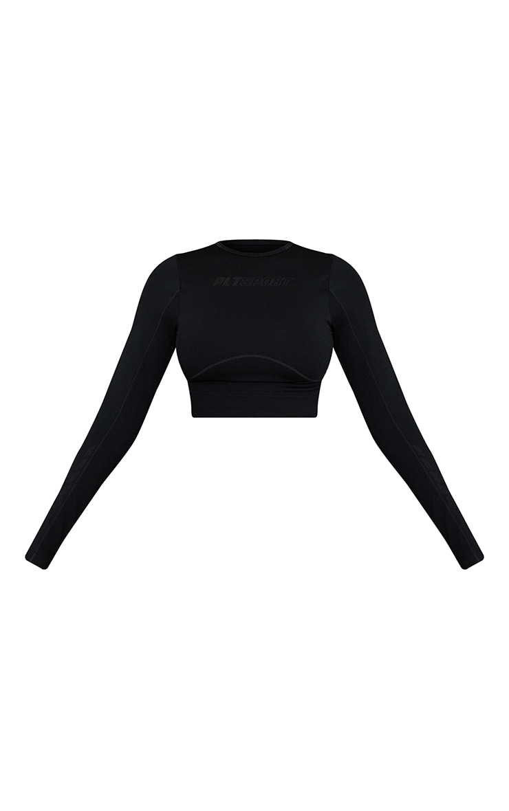 Black Seamless Contour Detail High Neck Cropped Sports Top 5