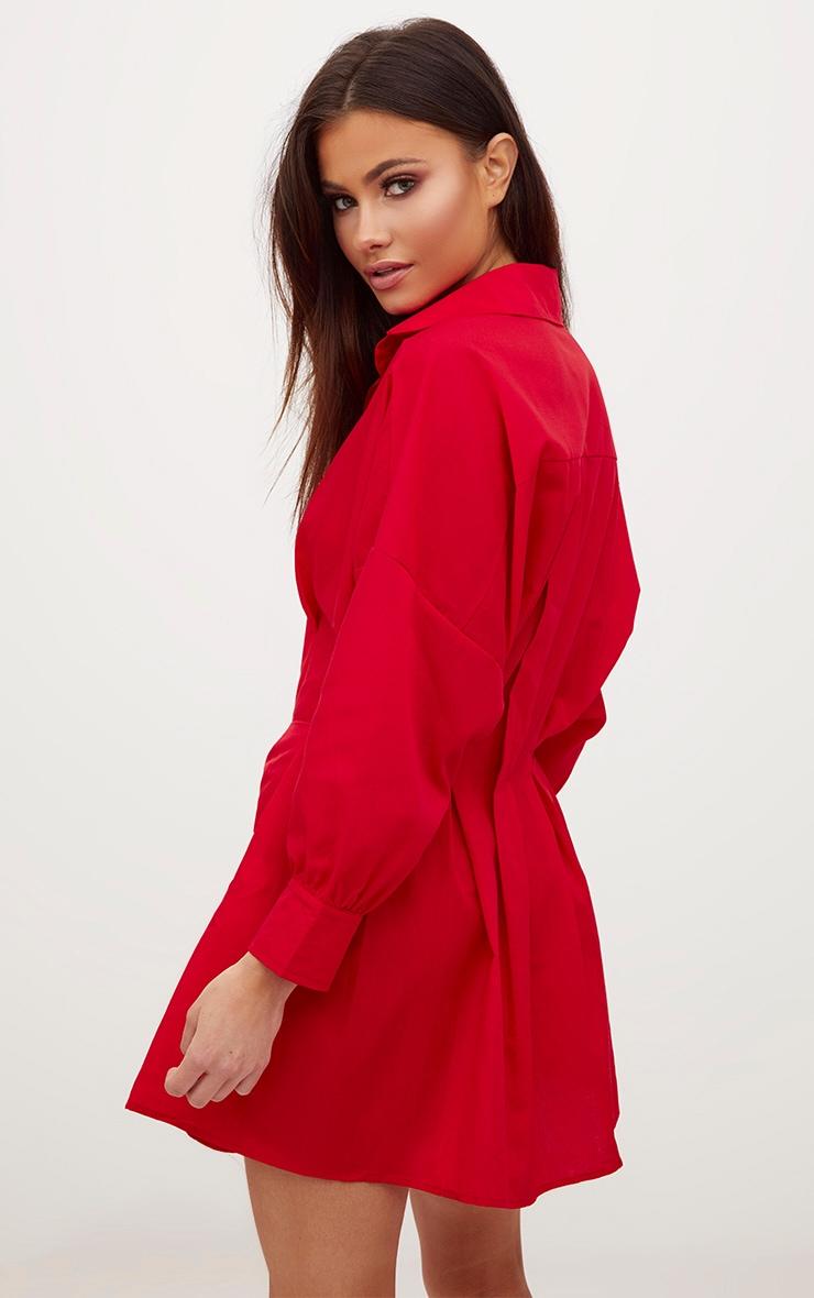 Red Ring Waist Detail Shirt Dress 2