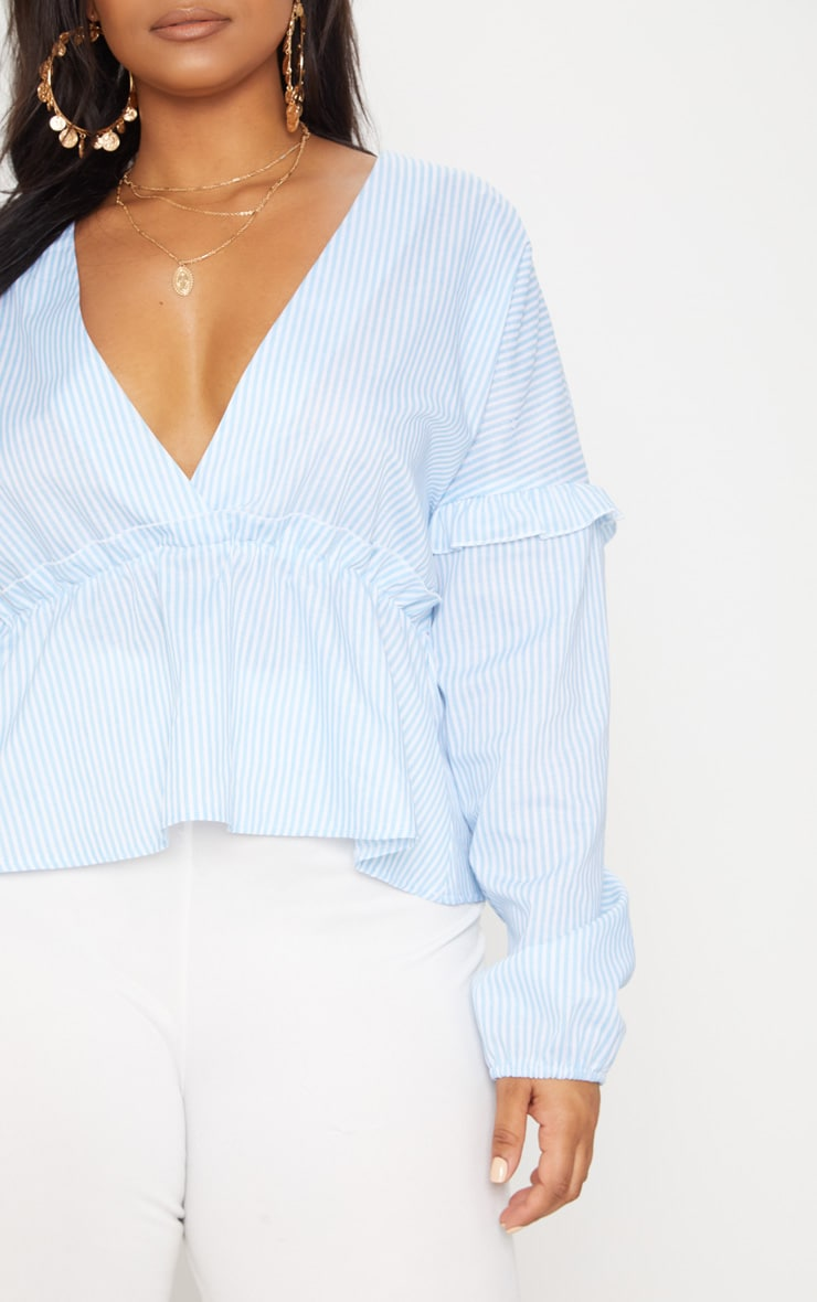 Plus Blue Striped Frill Detail Top 5