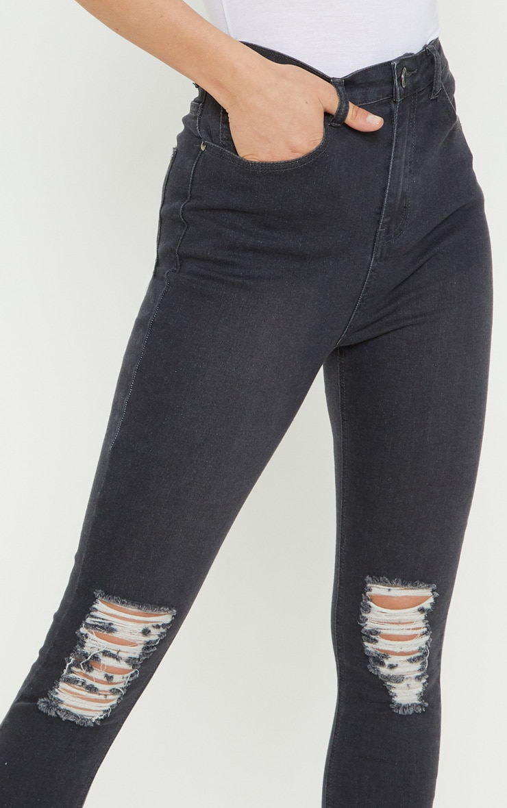 Grey Knee Rip 5 Pocket Skinny Jean  5