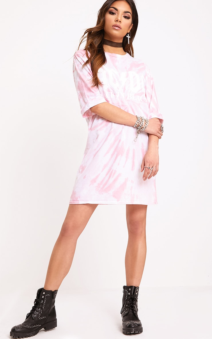 ACDC Pink Tie Dye T Shirt Dress  4