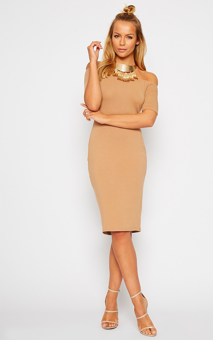 Caty Camel Jersey Bardot Midi Dress 4