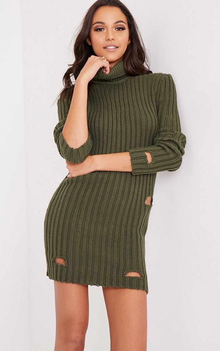 Roschan Khaki Distressed High Neck Knitted Mini Dress 1