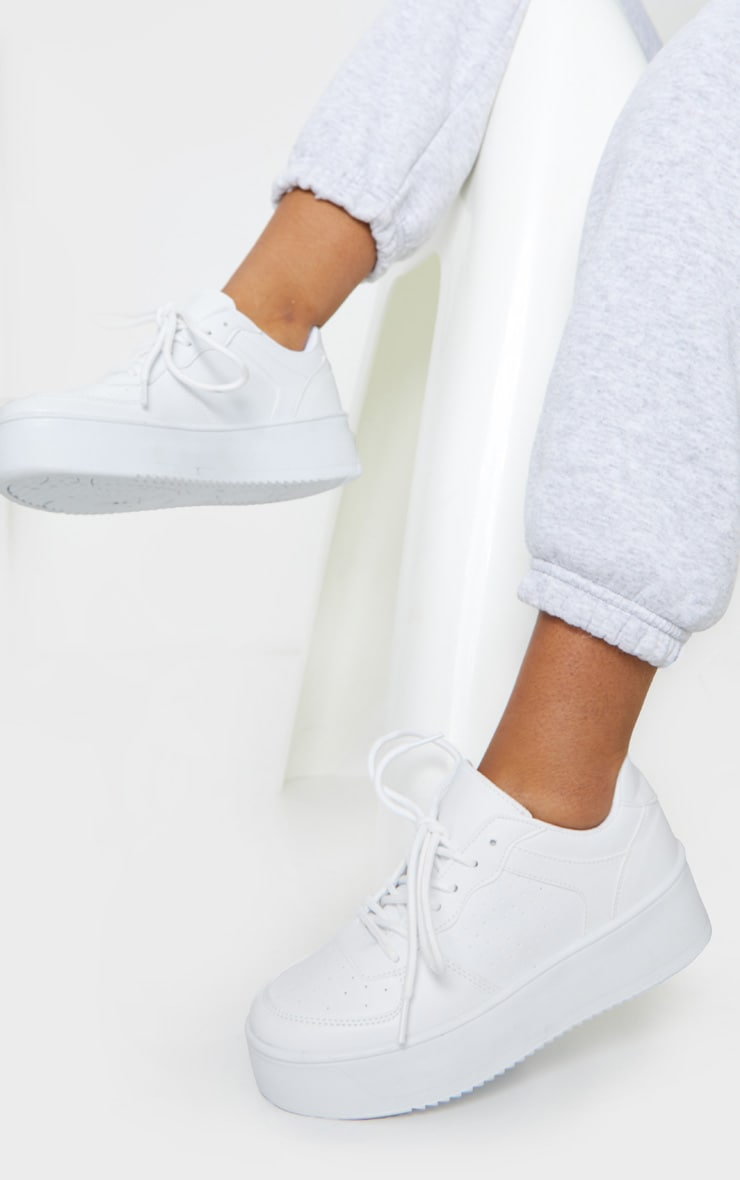 White Platform Sole Chunky Lace Sneakers 1