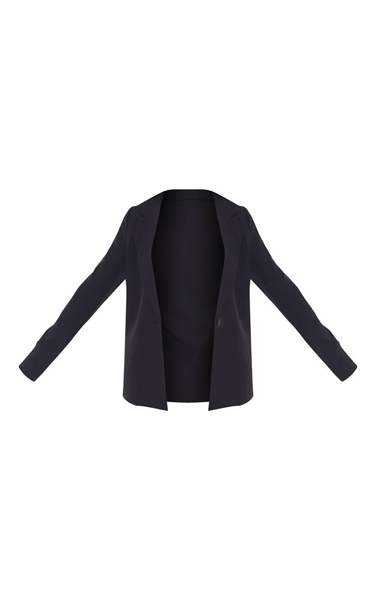 Petite Black Single Breasted Oversized Blazer 5