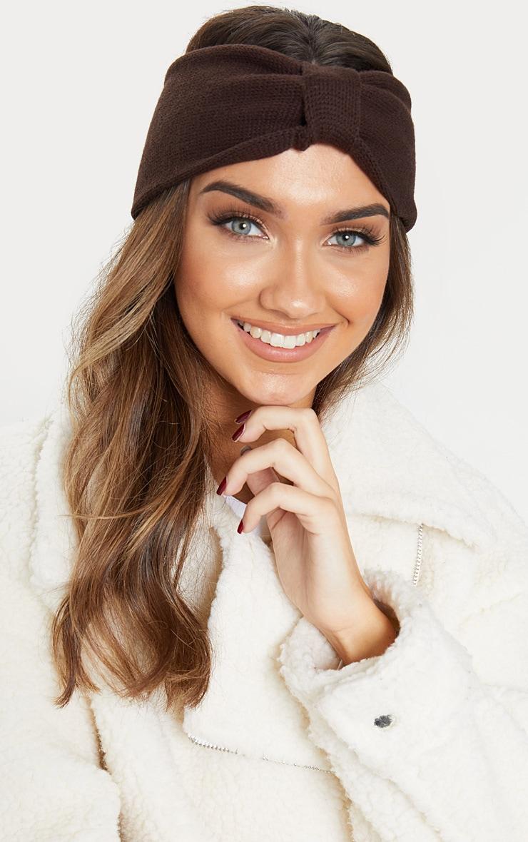 Chocolate Knitted Knot Headband 1
