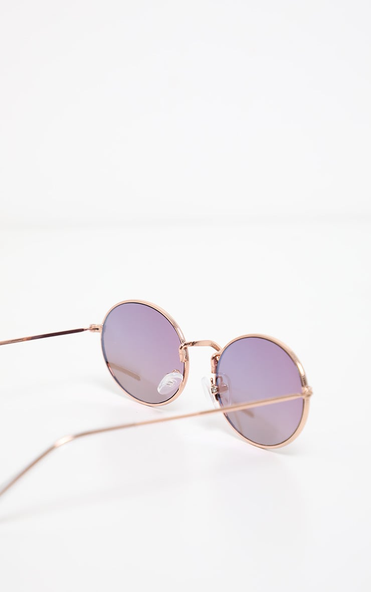 Purple Revo Lens Round Frame Retro Sunglasses 4