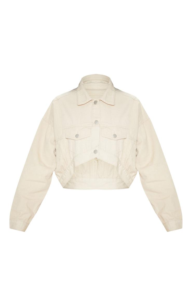 Ecru 4 Pocket Oversized Denim Jacket 3