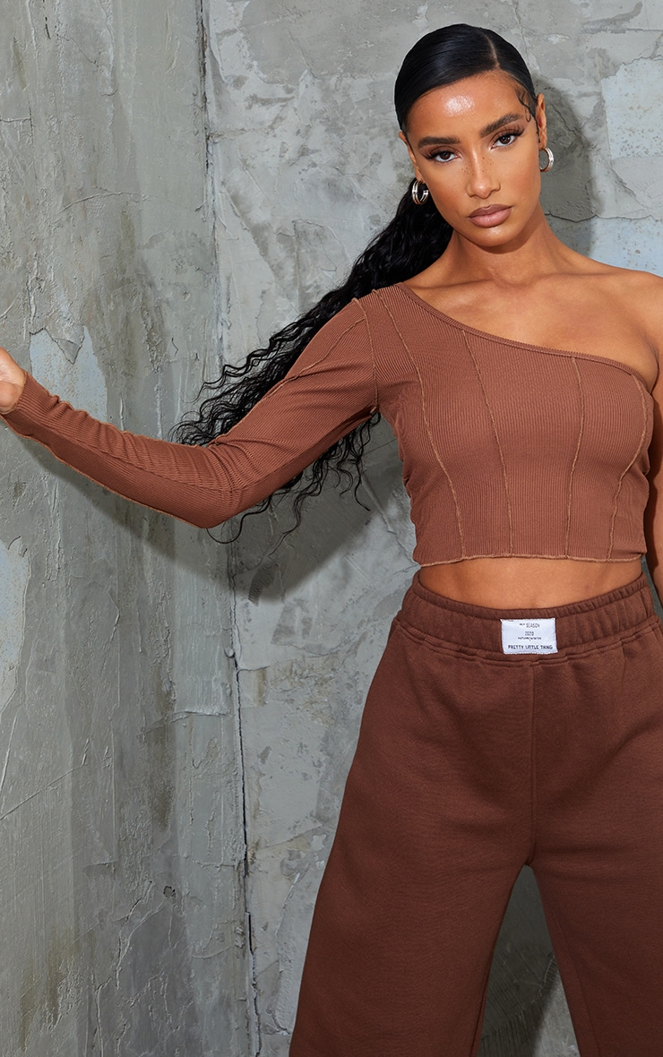 Chocolate Rib Overlock Seam Detail One Shoulder Crop Top 1