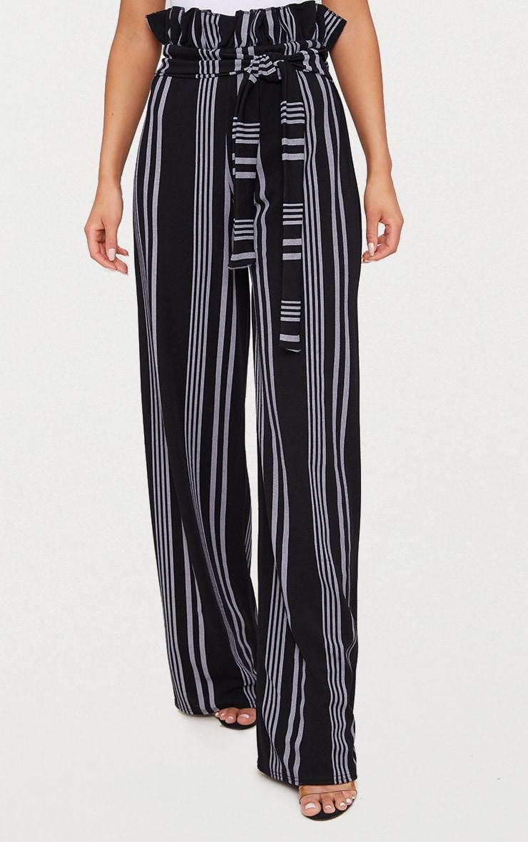 Black Stripe Crepe Paperbag Wide Leg Pants 2